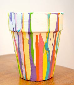 One Artsy Mama: Potted Bulb Paint Drip Planter - would love to do this as a 2 part craft, one week to paint, one week to plant