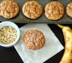PB Oatmeal Banana muffins - Milla and Ellie love! But try different flour, Bob's GF AP was too sticky