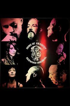 Sons Of Anarchy Jax, Chibs, Happy, Gemma, Tig, Tara, Juice and Unser