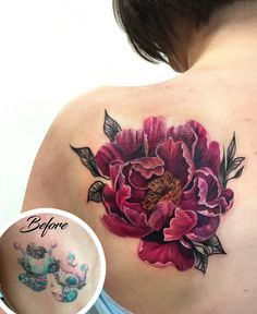 Flower tattoo on scapula cover-up by Elizaveta Bondaruk Shoulder Cover Up Tattoos, Cover Up Tattoos For Women, Tattoos For Women Flowers, Shoulder Tattoos For Women, Flower Tattoo Shoulder, Back Tattoo Women, Vintage Blume Tattoo, Vintage Flower Tattoo, Foot Tattoos