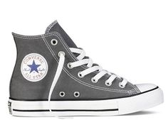 Men's Converse All Star Chuck Taylor Hi Top Shoes - Charcoal - Free Ship! Converse All Star Hi Top Chuck Taylor Chucks. Converse Badge On Outer Boot. 7 Eyelet Lace Up Front. Black Lace Shoes, Black High Top Sneakers, Grey Sneakers, Best Sneakers, Shoes Sneakers, Summer Sneakers, Canvas Sneakers, Grey Trainers, Grey Shoes