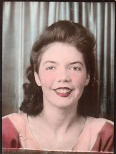 1940's Woman in photo booth portrait vintage tinted photo.Women