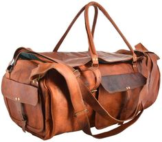 "24"" Real goat leather handmade travel luggage vintage holiday trip duffel bag"