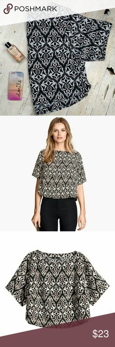 "H&M Conscious Collection Top Super cute patterned oversized top. 100% polyester. 18"" shoulder to hem, 21"" armpit to armpit. Black, gray, white, pink. No trades! EUC H&M Tops"