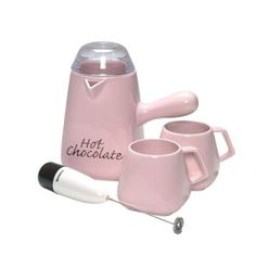 Bonjour Pink Hot Chocolate Maker and Mug Set Square Design - portion of proceeds to Susan B. Komen for the cure