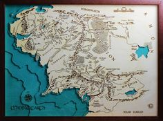 3D Middle Earth Map, wooden craft and hand-painted