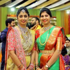 Image may contain: 5 people, people standing Bridal Sarees South Indian, Indian Bridal Fashion, South Indian Bride, Indian Wedding Outfits, Bridal Outfits, Pattu Saree Blouse Designs, Half Saree Designs, Saree Blouse Patterns, Bridal Blouse Designs