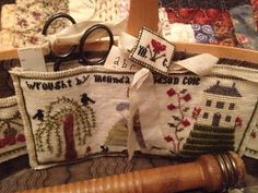 Merry Cox - House on the HIll (by Merry Wind Farm) Sewing Kits, Cross Stitch Finishing, Needle Book, Pincushions, Cross Stitching, Organizers, Hand Sewn, Applique, Goodies