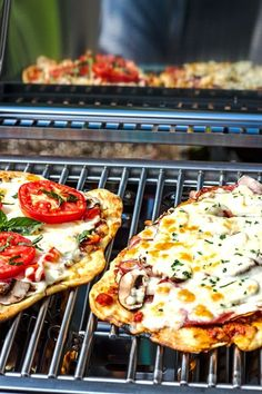 Grilled pizza tastes amazing and is SO easy to make on the BBQ. Perfect for weeknight meals, casual get togethers, and especially camping!