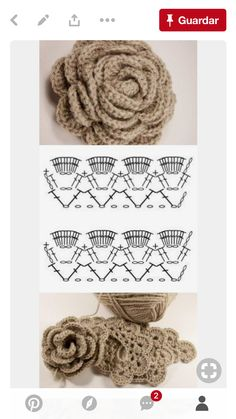 Pretty Flowers, Crochet designs, diagrams, how to's and ideasPattern is for the rose only - nice idea though in the basketcrochet rectangular basket with fun lid - pattern for crocheted rose onlyCrochet rose chart pattern helps if you can speak Spani Crochet Flower Tutorial, Crochet Flower Patterns, Crochet Stitches Patterns, Crochet Designs, Crochet Flowers, Knitting Patterns, Diy Crafts Crochet, Crochet Art, Thread Crochet