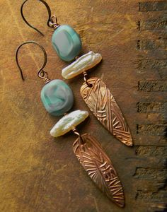 Copper Feather Earrings Pearl Tribal OOAK by ChrysalisToo (Gloria Ewing) on Etsy, $49.00