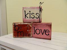 Valentine wooden blocks conversation blocks