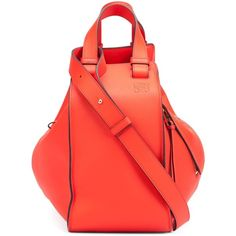 Loewe Hammock Bag - Red (10,870 MYR) ❤ liked on Polyvore featuring bags, handbags, fashion week essentials, kirna zabete, kzloves, top handles, red handbags, zip purse, zipper handbag and foldable bag