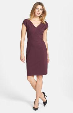 Classiques Entier Ponte Knit V-Neck Sheath Dress