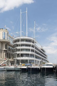 Image 13 of 24 from gallery of Yacht Club de Monaco / Foster + Partners. Photograph by Nigel Young / Foster + Partners Norman Foster, The Fosters, Yacht Week, Foster Partners, Famous Architects, Club Design, San Francisco Skyline, Sailing, Exterior