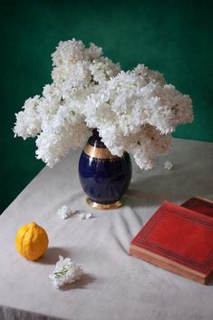 White Lilacs in Blue Vase by Nikolay Panov on 500px