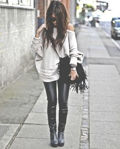 leather leggings, chunky sweater, fringe bag