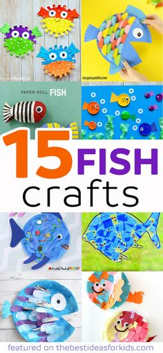 15 Fun and Easy Fish Craft Ideas for Kids. Perfect for toddlers, preschoolers and older kids! Included are toilet paper roll, paper plate, pasta, sun catchers and more fun fish craft ideas! via @bestideaskids