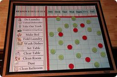 I've been looking for a simple chore chart like this one.  Now I have an idea on how to make it myself!