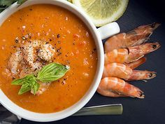 Tomato and Basil Soup with Wild Alaska Shrimp Fish Recipes, Salad Recipes, Prawn Soup, Spot Prawns, Fresh Bread, Fish And Seafood, Soups And Stews, Basil, Shrimp