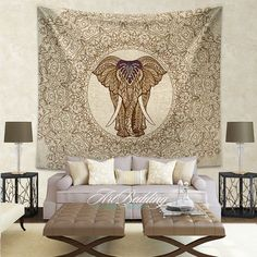 Mandala Tapestry, Mandala wall tapestry,Elephant tapestry, bohemian spiritual decor, Mandala tapestry wall hanging, Ethnic bohemian wall art