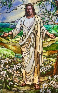 Paris France Temple - Stained glass picture of Savior Jesus Christ Stained Glass Church, Stained Glass Art, Stained Glass Windows, Jesus Ressuscité, Jesus Art, Pictures Of Jesus Christ, Jesus Christus, Biblical Art, Christian Art