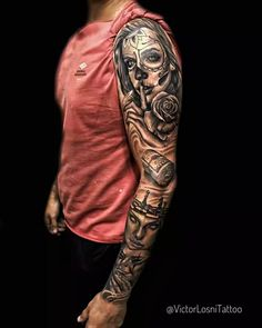 Cool Shoulder Tattoos, Best Sleeve Tattoos, Tattoo Sleeve Designs, Tattoo Designs Men, Badass Tattoos, Girl Tattoos, Tattoos For Guys, Next Level Tattoo, Chicano Art Tattoos