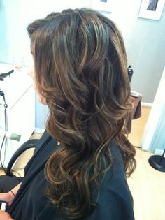 Dark brown with light brown and caramel highlights. This is how I'm currently having my hair colored and I love it!!
