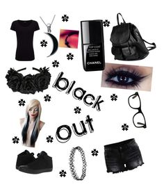 """❤ Black Out ❤"" by xxtheunlovedxx ❤ liked on Polyvore featuring mode, Joseph, VILA, Converse, PARENTESI, Carolina Glamour Collection en le top"