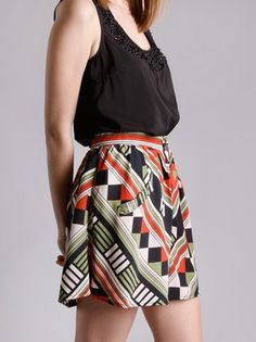 Opposition Graphic Skirt in Bottoms at Frock Candy.