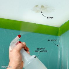 Before you go through the trouble of repainting a ceiling to get rid of a water stain, try this trick. Spray the spot with a bleach and water solution (10 percent bleach), and wait a day or two. If it's an old stain, use a mold and mildew remover from the grocery store. You'd be surprised how often the stain disappears by the next day. It works on both flat and textured ceilings. Wear safety goggles, and make sure you protect the walls and floors with plastic.