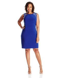 Jessica Howard Womens PlusSize Tucked Beaded Sheath Dress Royal 16W ** Want to know more, click on the image.(This is an Amazon affiliate link and I receive a commission for the sales)