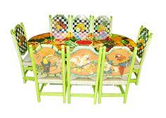 Comedor mosaico de frutas y aves Descripción Diseño: Mosaico de Frutas y Aves Color: Verde limón Asiento: Tejido de tule Mesa: Ovalada  8 Personas
