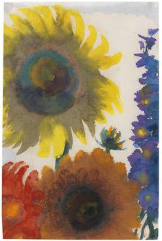 """""""Emil Nolde (German, 1867-1956), Sonnenblumen und Rittersporn [Sunflowers and Larkspur], c.1935. Watercolour on thin Japon, 41.9 x 27.4 cm. """""""
