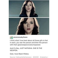 Natasha is a weapon. Same as Hawkeye. They both simply ARE dangerous.