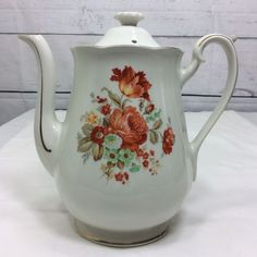 Hall Drip-O-Lator Coffee Pot Shape No 2 Rose Floral Pattern Gold Stamp #Hall