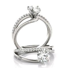 Forever One colorless D-F moissanite center with genuine diamond side stones. Diamond Solitaire Rings, Diamond Jewelry, Jewelry Rings, Celebrity Engagement Rings, Dream Engagement Rings, Dream Ring, Luxury Jewelry, Jewelry Making, Wedding Rings
