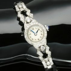 Platinum ladies watch with diamonds from the fifties