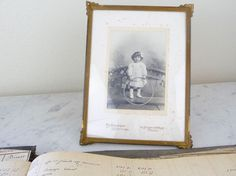 Antique French Photograph Girl, Paris, Framed Vintage Portrait Child, Sepia Photograph, Black and White Portrait, Vintage French Nursery by OneFairfaxRoad on Etsy