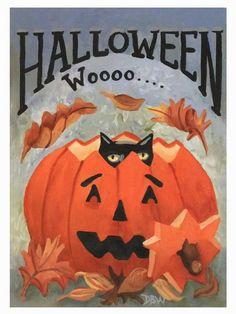 aceo original acrylic painting folkart whimsical Halloween Fall cat pumpkin