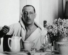 Igor Stravinsky having breakfast.
