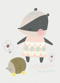 Children poster art for kids 22 Ideas A4 Poster, Cute Poster, Kids Poster, Badger Illustration, Cute Animal Illustration, Doodle Drawings, Cute Drawings, Baby Badger, Illustration Mignonne