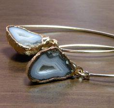 gray half geode druzy earrings.