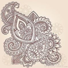 Hand-Drawn Abstract Henna Mehndi Tattoo Design-Paisley Doodle- Vector Illustration Design Element