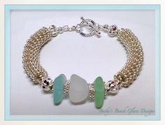 Silver Spiral Coil Beach Glass Bracelet, $30.00