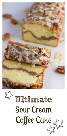Can't beat the flavors of this traditional … Ultimate Sour Cream Coffee Cake! Can't beat the flavors of this traditional coffee cake – no reduced calories here….just a lot of yum! Mini Desserts, Just Desserts, Sour Cream Desserts, Food Cakes, Cupcake Cakes, Best Coffee Cake Recipe, Coffee Bread Recipe, Sour Cream Coffee Cake, Coffee Cake Loaf