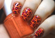 nail art | ... foto) I like this nail art. Orange with a touch of pink and black