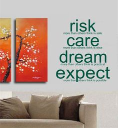 Risk Care Dream Expect Decal Sticker Wall Art Tattoo Words Inspire Office Home Decor Teen