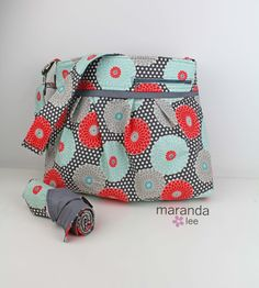 Stella DELUXE Diaper Bag Set with Changing Mat Pad Large - Springdale Floral with Grey- Coral Mint Nappy Bag Attach to Stroller by marandalee on Etsy