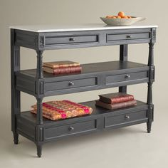 Tiered Marble Top Console Console from Wisteria...might work as a narrow kitchen island?